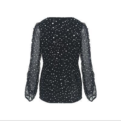 frill detail dot pattern blouse black